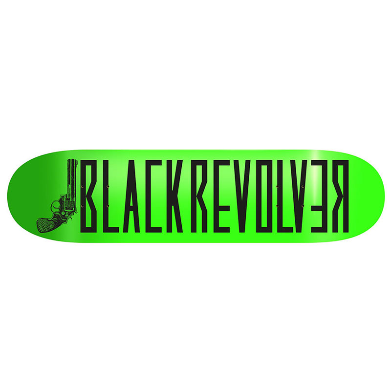 "Black Revolver tabla / deck / skateboard ""Classic Logo Green Neon"""