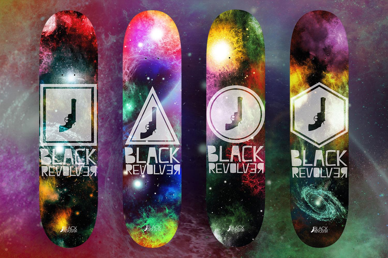 black revolver skateboard deck space