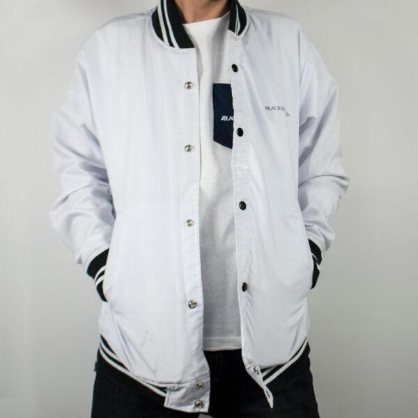 black revolver bomber jacket blanco adelante
