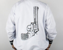 black revolver bomber jacket blanco atras