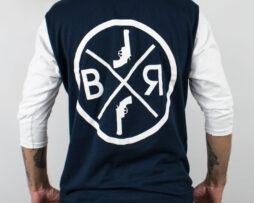 black revolver bxr azul mangas blancas atras