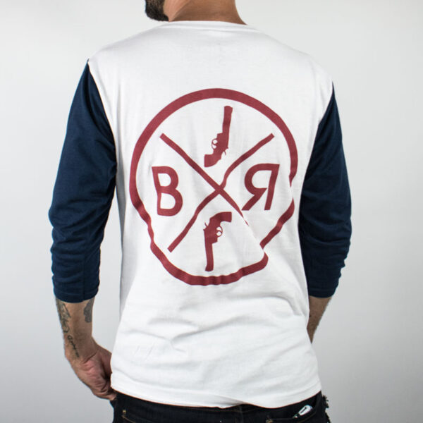black revolver bxr blanco mangas azules atras