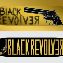 black revolver gold skateboard series