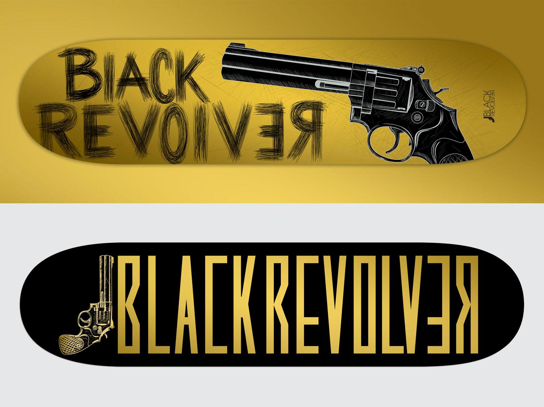 black revolver gold skateboard series