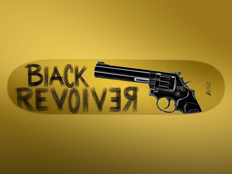 black revolver original gold skateboard
